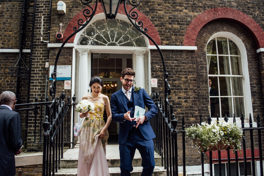Camberwell registry office wedding confetti exit
