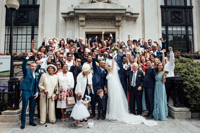 whole wedding group shot Islington Town Hall