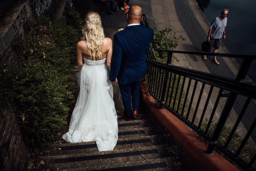 wedding dress canal steps