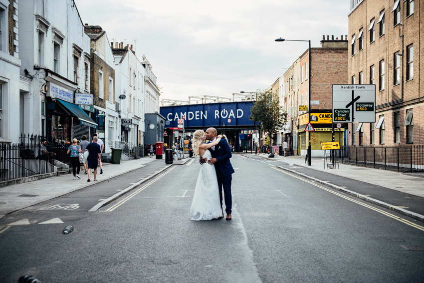 Camden Rd kiss London wedding photographer